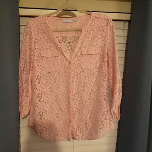NY&C Pink lace button up top